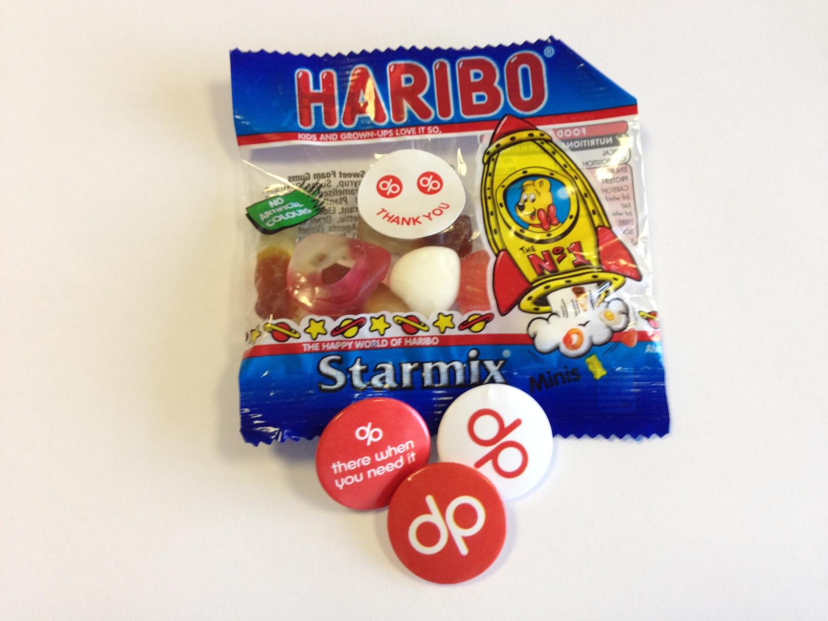 Haribo sweets, stickers and badges - digital printing