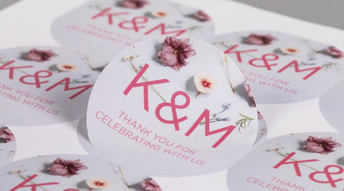 High Quality Round Wedding Sticker