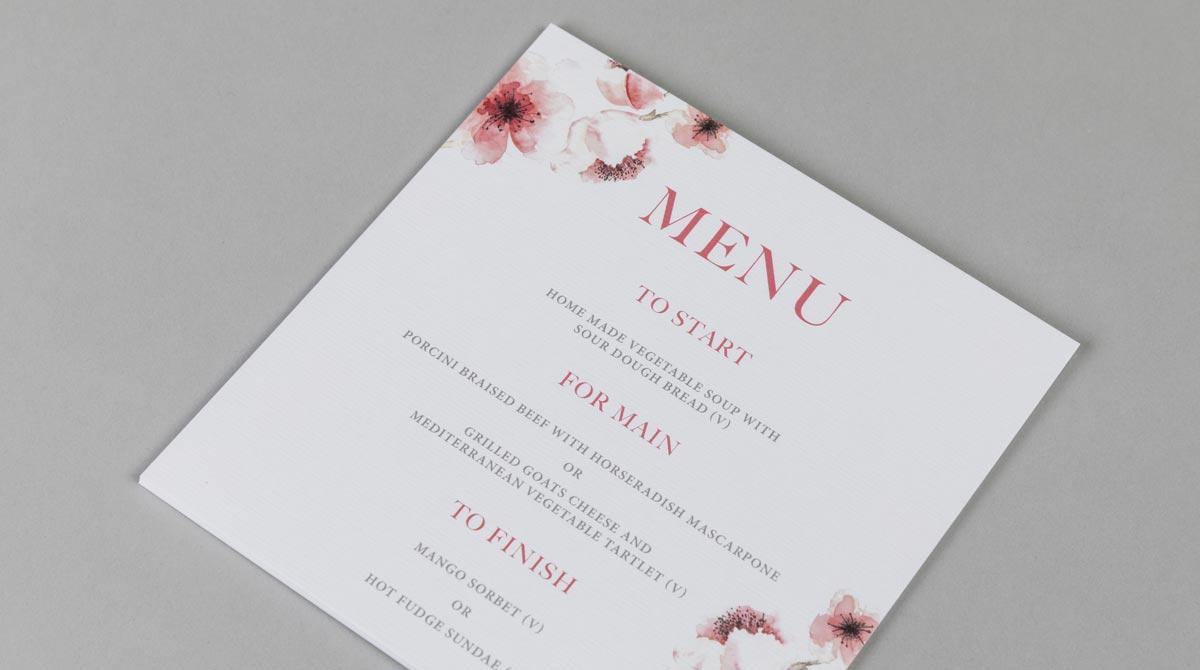 flat wedding menus  menus for weddings  print menu cards