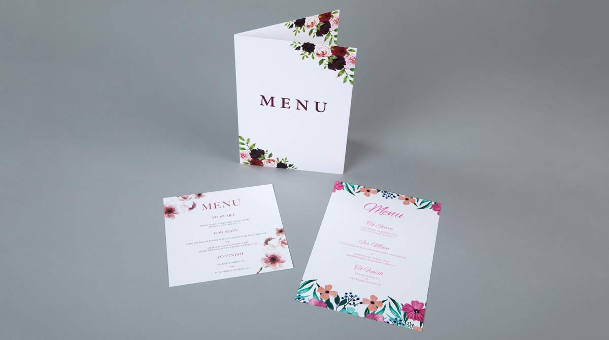 Folded Wedding Menu Printing
